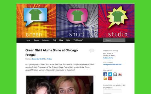 Screenshot of Blog greenshirtstudio.com - Green Shirt Studio - Chicago's home for the Meisner Acting Technique - captured Sept. 30, 2014
