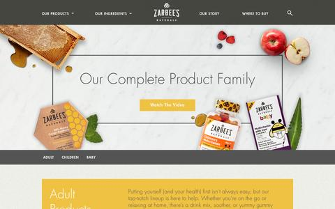 "Screenshot of Products Page zarbees.com - Zarbee's Naturalsâ""¢ - captured July 27, 2016"