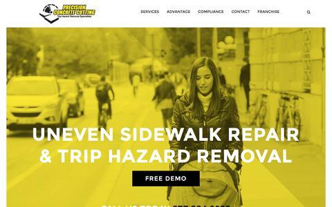 Screenshot of Home Page safesidewalks.com - Trip Hazard Repair, Uneven Sidewalk Repair, Concrete Repair, Pumping - captured Nov. 10, 2016