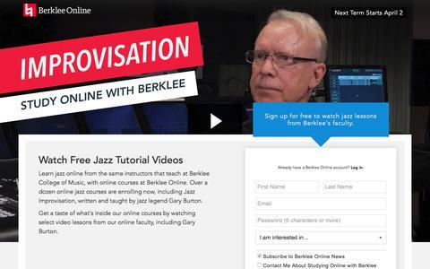 Screenshot of Landing Page berklee.edu - Watch Gary Burton Jazz Videos from Berklee Online - captured March 29, 2018