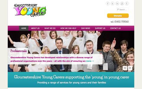 Screenshot of Home Page Menu Page glosyoungcarers.org.uk - Gloucestershire Young Carers - captured Oct. 2, 2014