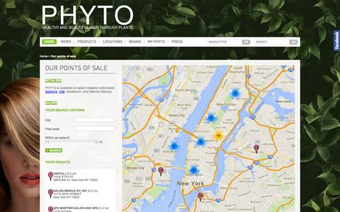 Screenshot of Maps & Directions Page phyto-usa.com - Our points of sale - captured Oct. 4, 2014