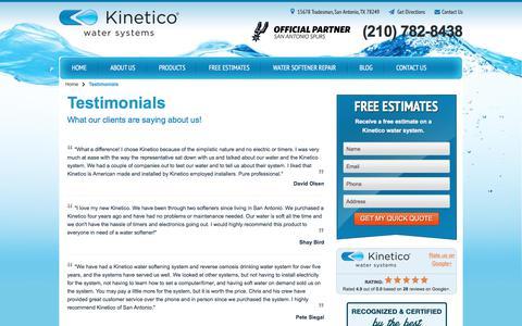 Screenshot of Testimonials Page kineticosa.com - Home Water Systems Reviews | Kinetico San Antonio - captured Oct. 17, 2017
