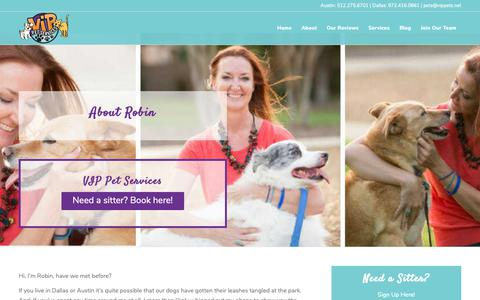Screenshot of About Page vippets.net - About Robin | VIP Pet Services - captured Oct. 20, 2018