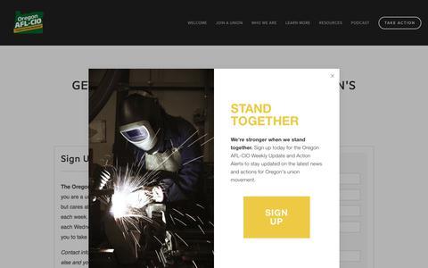 Screenshot of Signup Page oraflcio.org - Sign Up — Oregon AFL-CIO - captured July 2, 2018