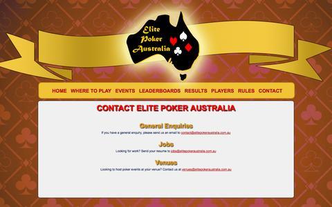 Screenshot of Contact Page elitepokeraustralia.com.au - Elite Poker Australia - captured Sept. 29, 2014