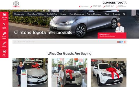 Screenshot of Testimonials Page clintonstoyota.com.au - Clintons Toyota Testimonials - Clintons Toyota - captured Nov. 4, 2018