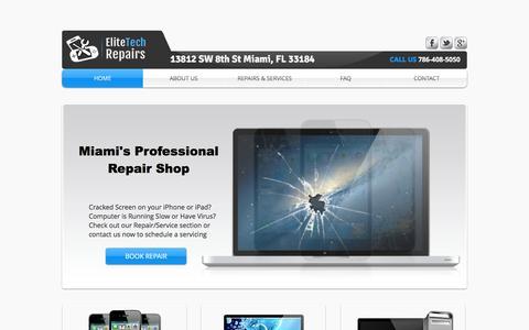 Screenshot of Home Page elitetechrepairs.com - iPhone Repair Miami - iPad Repair Miami - Computer Repair Miami By EliteTech Repairs - captured May 16, 2017