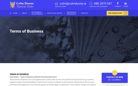 Screenshot of Terms Page colmdunne.ie - Terms - Colm Dunne - captured Sept. 28, 2018