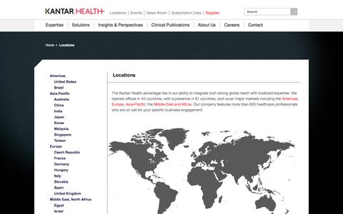 Screenshot of Locations Page kantarhealth.com - Global Office Locations | Kantar Health - captured Feb. 24, 2017