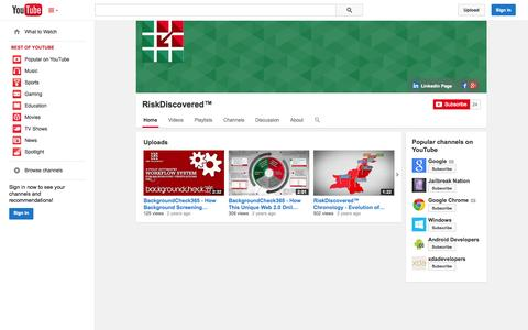 Screenshot of YouTube Page youtube.com - RiskDiscovered™  - YouTube - captured Oct. 29, 2014
