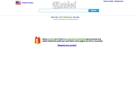Screenshot of Home Page estivi.es - Estivi - El primer buscador que reparte premios - captured Sept. 23, 2014