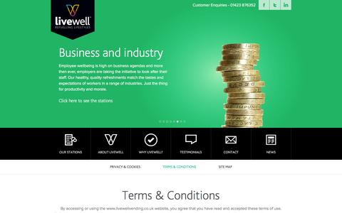 Screenshot of Terms Page livewellvending.co.uk - Terms & Conditions « Livewell | Vending for every occasion Livewell | Vending for every occasion - captured Jan. 31, 2016