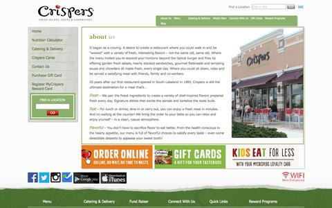 Screenshot of About Page crispers.com - About Us | Fresh Salads, Soups & Sandwiches | Crispers - captured Sept. 23, 2014
