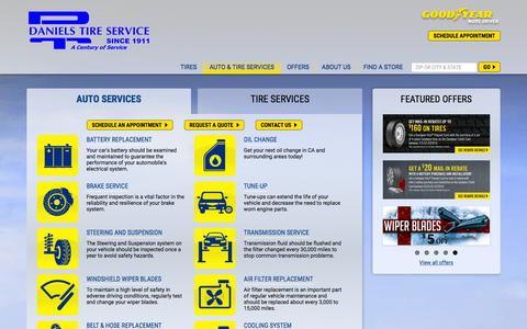 Screenshot of Services Page danielstireservice.com - Auto Repair Services in CA | Daniels Tire Service - captured Jan. 7, 2016