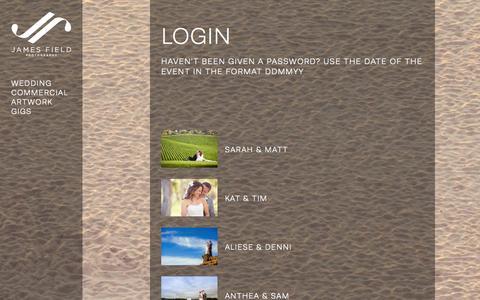 Screenshot of Login Page jame.com.au - Login » James Field Photography - captured Oct. 6, 2014