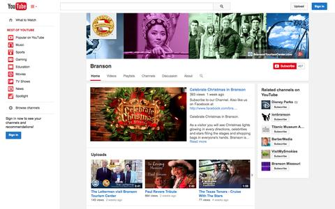 Screenshot of YouTube Page youtube.com - Branson  - YouTube - captured Oct. 23, 2014