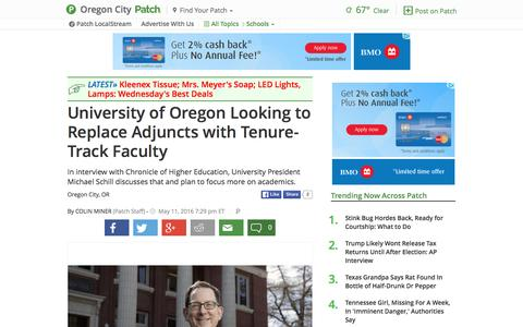 Screenshot of patch.com - University of Oregon Looking to Replace Adjuncts with Tenure... - captured May 12, 2016