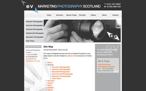 Screenshot of Site Map Page marketingphotographyscotland.co.uk - Site Map - Elevated View Photography - Estate Agent Photography & Floor Plans - Edinburgh - captured Oct. 2, 2014