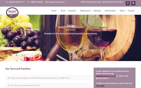 Screenshot of FAQ Page winetours.co.uk - FAQs - Arblaster & Clarke - captured Feb. 6, 2016