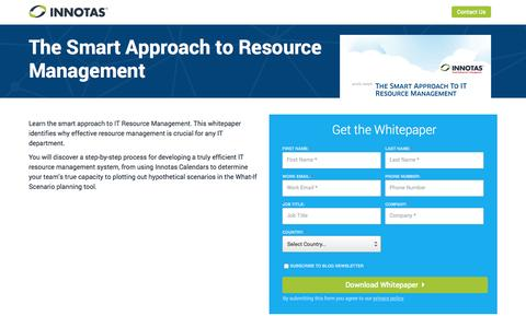 Screenshot of Landing Page innotas.com - Whitepaper - The Smart Approach to Resource Management   Innotas - captured March 22, 2016