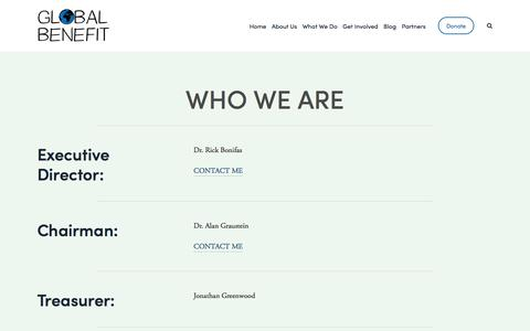 Screenshot of Team Page globalbenefit.org - Who We Are — Global Benefit - captured July 19, 2018