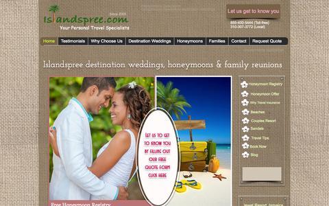 Screenshot of Home Page islandspree.com - Book Amazing Vacations, Destination Weddings - captured Oct. 6, 2014
