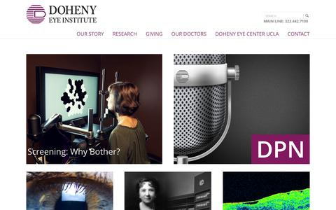 Screenshot of Home Page doheny.org - Doheny Eye Institute - captured Feb. 9, 2016