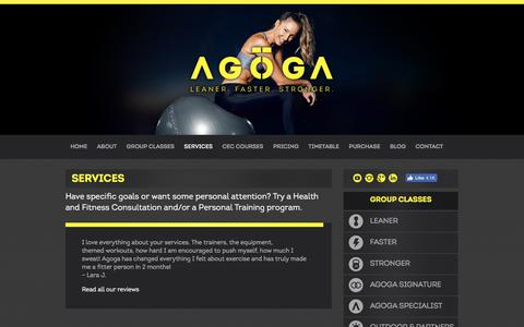 Screenshot of Services Page agoga.com.au - Services - captured July 28, 2018