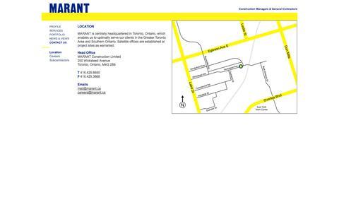 Screenshot of Contact Page marant.ca - Marant: Construction Managers & General Contractors: Contact Us - captured Oct. 4, 2014