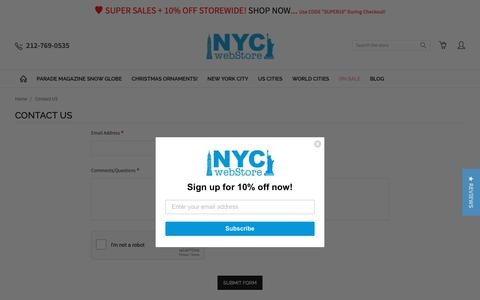 Screenshot of Contact Page nycwebstore.com - Contact Us with questions, comments about products and orders - captured Oct. 20, 2018