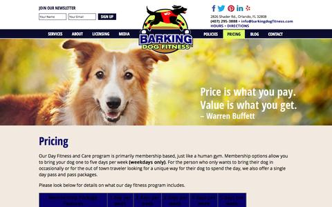 Screenshot of Pricing Page barkingdogfitness.com - » Day Fitness Program Pricing | Barking Dog Fitness Orlando - captured Sept. 30, 2014