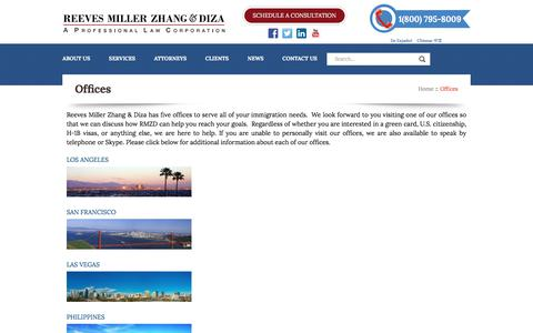 Screenshot of Contact Page Locations Page rreeves.com - Offices - REEVES MILLER ZHANG & DIZAREEVES MILLER ZHANG & DIZA - captured Oct. 21, 2017