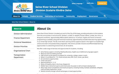Screenshot of About Page srsd.ca - About Us   - Seine River School Division - captured Feb. 26, 2018