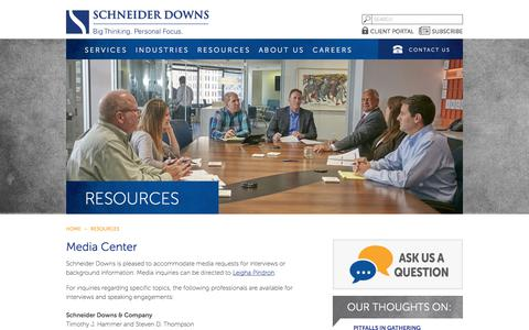 Screenshot of Press Page schneiderdowns.com - Media Center | Media Contacts | Accounting Topic Interview - captured Nov. 10, 2017