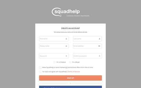 Screenshot of Signup Page squadhelp.com - Business Name Ideas| Naming & Logo Contests| Brand Name Ideas - captured Sept. 9, 2016