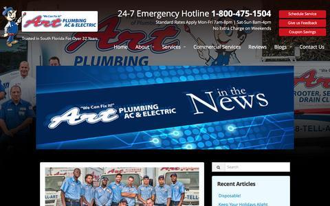Screenshot of Press Page artplumbingandac.com - Press Release Archives - Art Plumbing, AC & Electric - captured Nov. 21, 2016