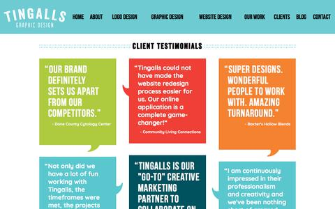 Screenshot of Testimonials Page tingalls.com - Testimonials for Tingalls Graphic Design   Madison WI - captured Oct. 27, 2017