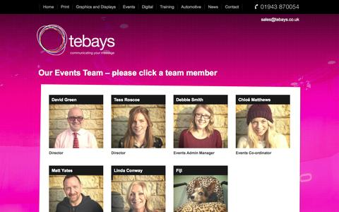 Screenshot of Team Page tebays.co.uk - Our Team - Events Tebays - captured Oct. 29, 2014