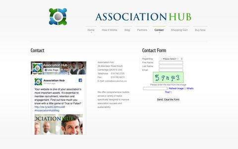 Screenshot of Contact Page associationhub.com - Association Hub | Contact - captured Nov. 6, 2018