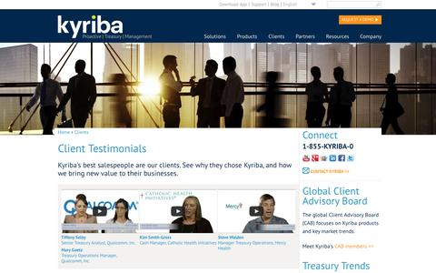 Screenshot of Testimonials Page kyriba.com - Client Testimonials | Kyriba - captured Sept. 16, 2014