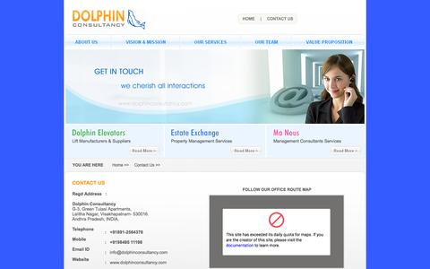 Screenshot of Contact Page dolphinconsultancy.com - Dolphin Consultancy - Dolphin Elevators, Estate Exchage, Manous Management Consultants - captured Sept. 30, 2014