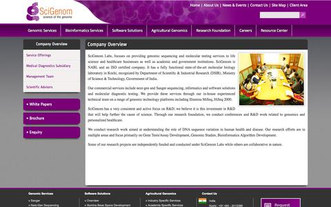 Screenshot of About Page scigenom.com - About-Us - captured Sept. 25, 2014