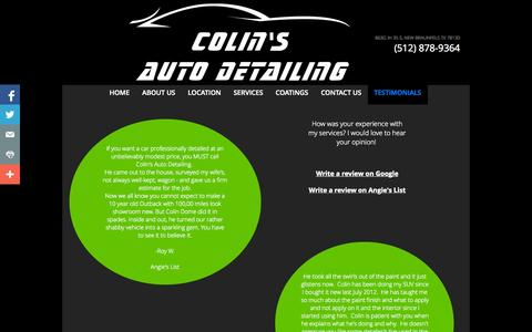 Screenshot of Testimonials Page colinsautodetailing.com - Testimonials - captured Sept. 30, 2014
