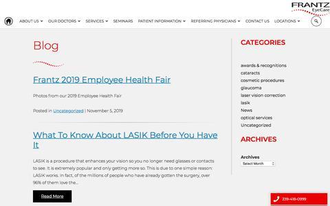 Screenshot of Blog bettervision.net - Vision Correction Blog | Frantz EyeCare, Fort Myers, FL - captured Nov. 7, 2019