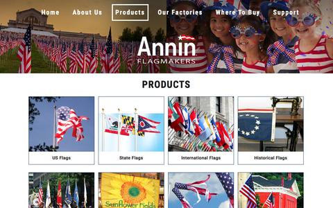Screenshot of Products Page annin.com - Products – ANNIN FLAGMAKERS - captured Sept. 23, 2018