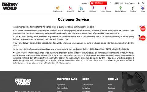 Screenshot of Support Page fantasyworldtoys.com - Customer Service - captured Aug. 12, 2018