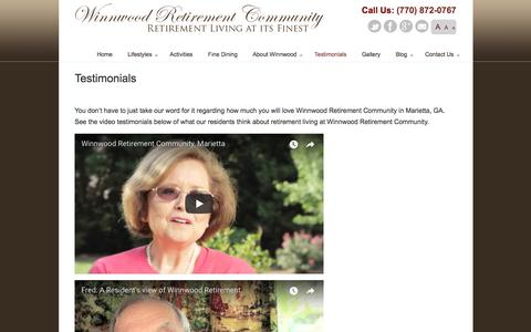 Screenshot of Testimonials Page winnwoodretire.com - Testimonials - Winnwood Retirement Community Marietta, GA - captured Oct. 21, 2017