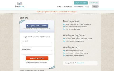 Screenshot of Signup Page dogvacay.com - Sign Up   Dog Boarding - captured Sept. 15, 2014