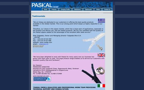 Screenshot of Testimonials Page paskal.co.il - Testimonials - captured Oct. 1, 2014